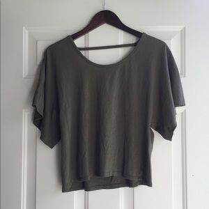 Olive green low/ open back tee